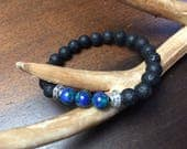 Aromatherapy Essential Oil Diffuser Bracelet, lava rock, Azurite, Healing, therapy, diffuser jewelry, gift for her, gift giving