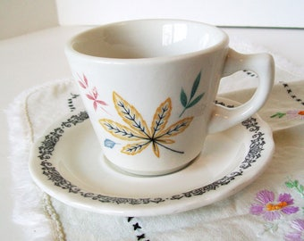 Restaurant Ware Walker Buffalo Cup Saucer 1960s Vintage Mixed China Patterns Leaves Vines Diner Dishes Cafe Coffee Mug Mid CenturyServing