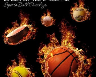 50% Off - Photoshop Design | Sports Photo Overlays | FIREBALL Overlays Set 2 | (5) Digital .PNG Files for Sports Photography & Quick Pages.