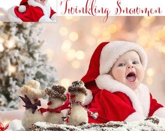 Christmas Digital Background, Photo Overlays, Background Replacement, Photography Backgrounds & Backdrops, Twinkling Snowmen.