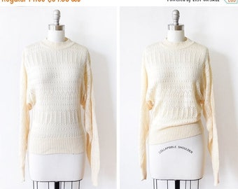 20% OFF SALE 80s eyelet sweater, vintage cream pointelle sweater, 1970s pullover knit dolman sleeve, xs/small
