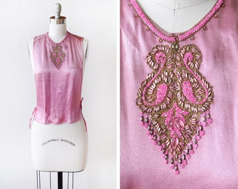vintage 40s beaded dickie, 1940s chemisette, dark pink + gold faux satin blouse, extra small xs small s