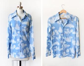 70s disco shirt, vintage 1970s button up butterfly collar shirt, blue + white novelty print tree men's shirt, men's small/medium, women's ml