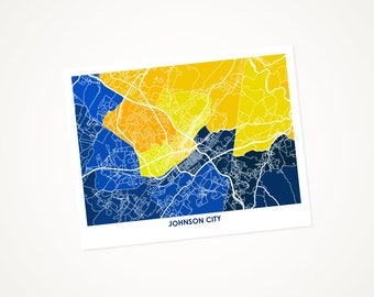 Johnson City Map Print.  Choose your colors and size.  East Tennessee State Buccaneer Gift.  Tenn wall art.