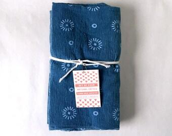 Indigo Dyed Napkin Set, Naturally Dyed Napkins, Rustic Shibori Table Linens, Indigo Cloth Napkins, Handprinted,  Set of 4