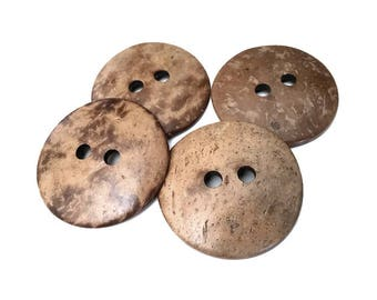 4 Large buttons 1 3/4 inch coconut buttons 44mm - Natural Wood and Eco Friendly buttons  (BC603K2)