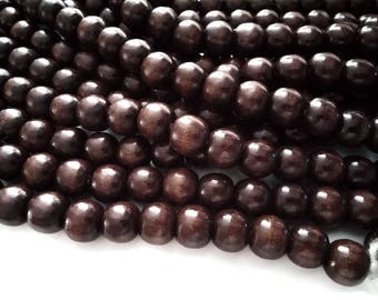 Brown wood round beads 12x11mm - 30pcs  #PB225D