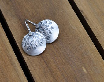 Sterling Silver Earrings, Sterling Silver Disc Earrings, Hand Stamped Dangly Earrings