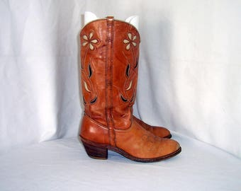 Sz 10n Women Vintage brown leather 1980s Dingo cowboy boots.