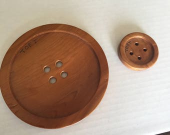 DESTASH! Two Oversized Handmade Wooden Buttons from Toft Yarn