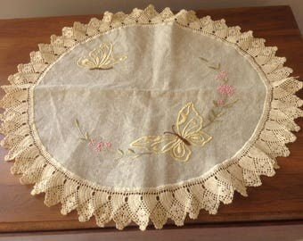 Antique Embroidered Butterfly Centrepiece, Arts and Crafts Embroidery on Ecru Linen, Picot Lace Crochet Trim