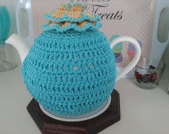 Teapot Cosy 6-8 cup A Medium Teapot Turquoise with a Yellow and turquoise flower.Cotton