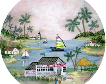 Southern Tropical Waters - Sailors Valentine Center, ART for Designers Crafters ~ Mermaid Island ~ JL. Munro