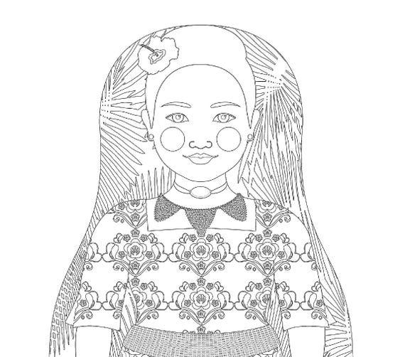 Tongan Doll Traditional Dress Coloring Sheet Printable Matryoshka