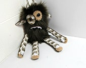 Worry Monster Plush - Handmade Nervous Monster - Brown Faux Fur Monster Toy - OOAK Grumpy Monster - Hand Embroidered - Weird Cute Plush Toy