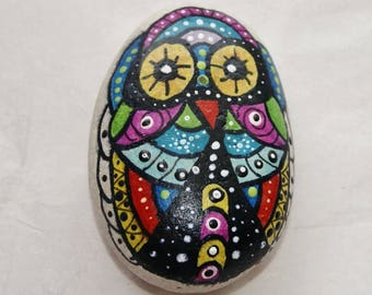Owl Painted Rock Art, Paper Weight, Desk Art, Great Lakes Beach Rock