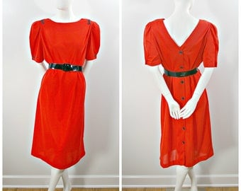 Vintage Knit Dress, 80s Red Knit Button Back Dress, Knee Length Red and Black Belted Short Sleeve Dress, Summer Weight Red Knit Dress Size L