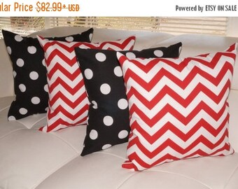 Polka Dot Black and White and Chevron Red Outdoor Throw Pillow - Free shipping