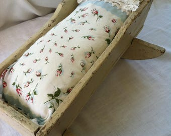 Child's Vintage Cradle with Handmade Bedding by Barneche/Stephanie Barnes Studio