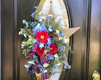 Patriotic Door Hanger, Patriotic Wreaths for Front Door, 4th of July Decor, 4th of July Wreath, Red White and Blue Wreath, Texas Star Decor