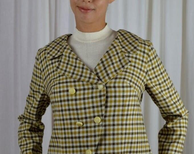 sale Plaid Jacket, Short Jacket, Swing Jacket, Office Jacket, Casual Jacket, Gold Jacket, Vintage Jacket, Buffalo Gal Vintage