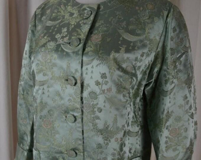 sale VintageJacket, Cocktail Jacket,  Brocade Jacket, Light Green Jacket, Satin Jacket, Asian Style Jacket,  Cropped Jacket,