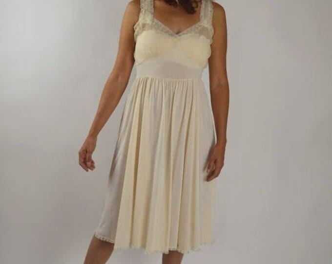 sale Vintage Slip, Vintage Negligee, Slip Dress, Sheer Slip, Soft Pink, Pleated Accordion, Vintage Lingerie, Sheer Slip  Size 36