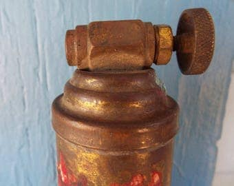 Vintage brass, small Presto fire extinguisher, empty, dented, steampunk, fire fighter