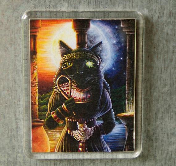 Bastet Cat Magnet, Egyptian Cat Goddess, Black Cat Art Fridge Magnet