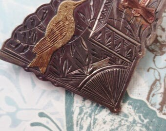 Vintage Sterling  Brooch Fan Bird Dragonfly
