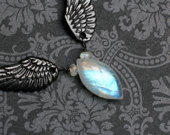 """Moonstone Necklace, Rainbow Moonstone, Angel Wing Necklace, Sterling Silver - """"Faeriewings"""" by CircesHouse on Etsy"""