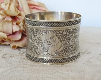 Antique French Sterling Silver Napkin Ring, Paris Apartment Chic Dining Accessory, Vintage French Silver Serviette Ring, Gorgeous Quality