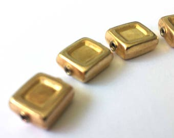 6 pcs Gold Vermeil Rectangle Beads | 9mm x 10mm Gold Plated on Sterling Silver 1mm hole | Jewelry Findings Supplies | Strand of 6 Gold Beads