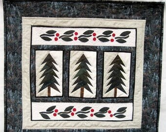 Summer Sale Quilted winter wall art majestic fir trees wall hanging Quiltsy handmade