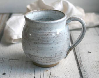 15 oz. Speckled Stoneware Mug in White Blush Blue Glaze Rustic Pottery Cup Ready to Ship Made in USA