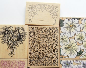 7 Floal Rubber stamp set  pansy, flowers in heart shape, Roses and ribbon, holly, roses. heart leaves and other