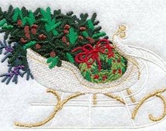 Sleigh Towel - Victorian Towel - Christmas Towel - Embroidered Towel - Flour Sack Towel - Hand Towel - Bath Towel  - Apron