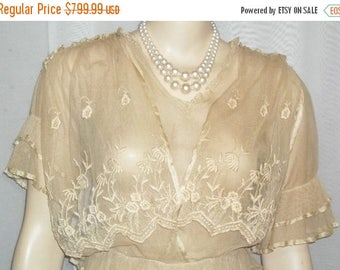SUMMER SALE Antique Steampunk Net Lace Dress Victorian Edwardian Flapper Small