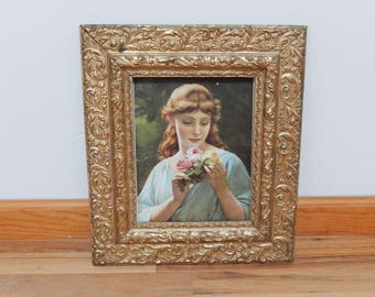 "antique vintage wood frame, gold frame, mirror frame, home decor, 16"" x 14"""