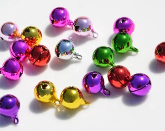 50 Small Colored 8mm Jingle Bells SC4135