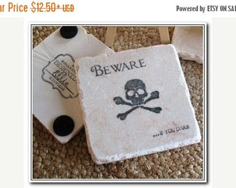 XMASINJULYSale Beware if You Dare Black Skull and Crossbones Absorbent Tile Coasters - Pirate Drink Coasters - Halloween Party Decor