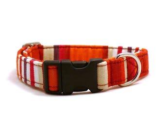 Orange striped dog collar - Hammock pet collar - Plastic buckle dog collar - UV resistant adjustable dog collar - Hammock collar
