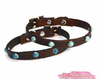 Small Dog Collar, Dog Collar, Pet Collar, turquoise stone pet collar, Custom Dog  Collar, Pet ID Tag, Dog I.D collar
