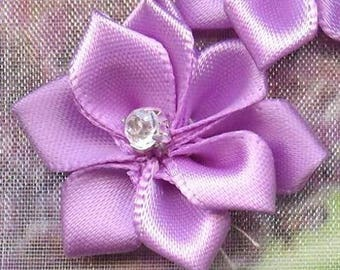 5 SATIN flowers with RHINESTONE ❀VIOLET❀ MAT2123 26x28mm x