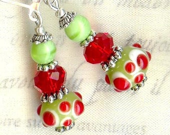 ✿KIWI curls & cherry red green Crystal OR526 ✿lampwork