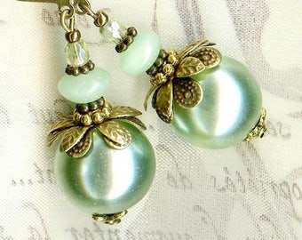 Earrings Green Giant green pastel Crystal OR463 ✿ ✿