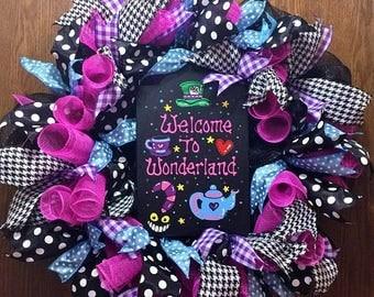 SALE & FREE SHIPPING Welcome to Wonderland - Welcome Door Wreath