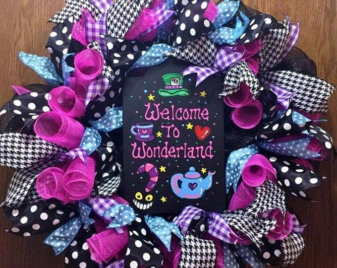 SALE- Welcome to Wonderland - Welcome Door Wreath