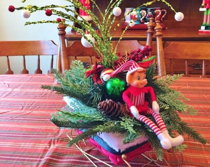 SALE- Santa Sleigh Elf  - Holiday Christmas Centerpiece Decor