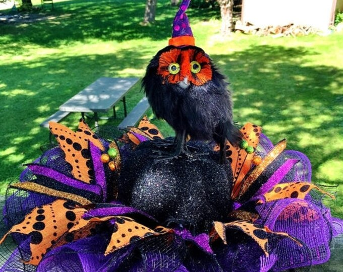 SALE- Witchy Owl on a Pumpkin and Spiders - Fall Halloween Centerpiece